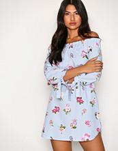 New Look Blue Poplin Shirred Bardot Dress