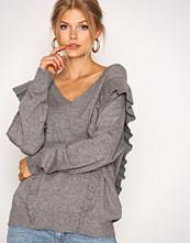 Selected Femme Grå Sffrilla Ls V-Neck Knit