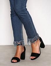 NLY Shoes Black Velvet Block Heel Sandal
