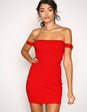 Missguided Red Buckle Bardot Mini Dress