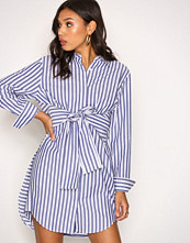 T by Alexander Wang Stripete L/S Tie Front Collared Dress