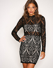 Missguided Black Lace Ruffle Mini Dress