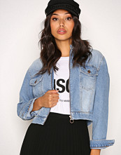 New Look Pottery Blue Cropped Zip Front Jacket