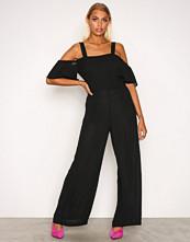Glamorous Black Frill Strap Playsuit