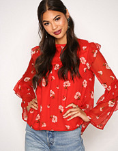 New Look Red Print Ruffle Chiffon Top