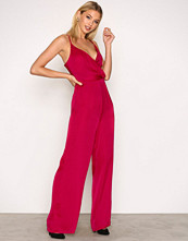 Missguided Pink Satin Strappy Jumpsuit