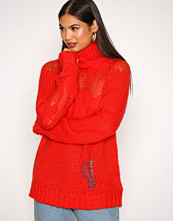 Glamorous Red Ripped Polo Jumper