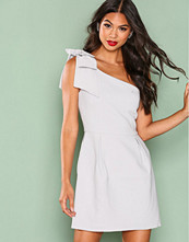 True Decadence Light Grey One Shoulder Frill Dress