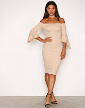 NLY One Beige Trumpet Sleeve Dress