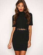 Missguided Black Lace Up Middle Mini Dress