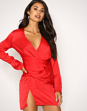 Missguided Red Silky Pannelled Dress