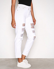 NLY Trend Hvit High Waist Destroy Denim