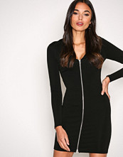 T by Alexander Wang Black Stretch Faille Ponte L/S Dress