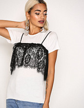 Missguided White Two in One Lace Crop Top