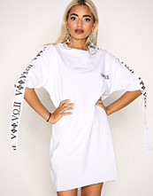 Missguided White Embroidered T-shirt Dress