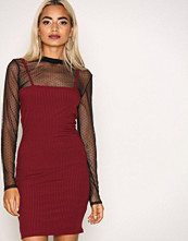 Missguided Burgundy Ribbed Bodycon Dress