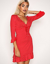 Missguided Red Polka Dot Frill Tea Dress