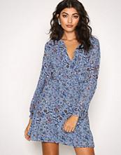Glamorous Dusty Blue L/S Floral Dress