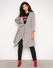 New Look Pale Grey Waterfall Belted Coat