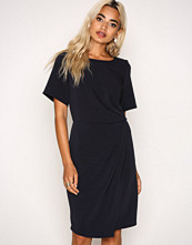 Closet Navy SyntheticCloset Short Sleeve Asymmetric Draped Dress