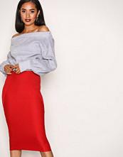 Missguided Red Bandage Midi Skirt