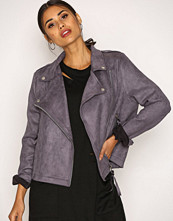 Missguided Charcoal Faux Suede Biker Jacket