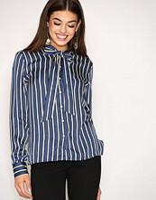 Gant Blue O1. Vertical Striped Bow Blouse