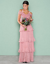 True Decadence Dusty Pink Cold Shoulder Frill Dress