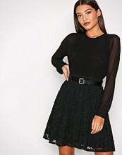 Michael Kors Black Pleated Lace Mix Dress