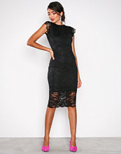 Honor Gold Black Faye Cap Sleeve Midi Dress