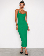 Missguided Green Ribbed Strappy Midi Dress