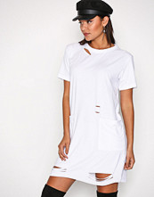 Missguided White Distressed Pocket T Dress