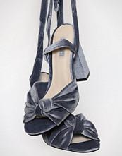 NLY Shoes Grå/Blå Velvet Lace Heel Sandal