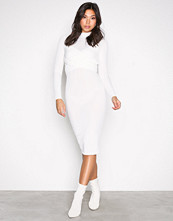 Missguided White Tie Front Ribbed Midi Dre
