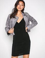 New Look Black Slinky Wrap Ruch Side Dress