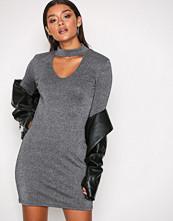 Glamorous Black Long Sleeve Lurex Choker Dress