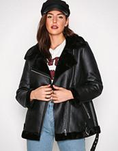 New Look Black Fur Lined Aviator Jacket