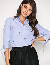 New Look Blue Embroidered Sleeve Shirt