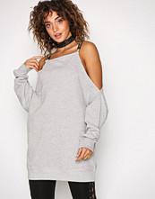 Missguided Grey Cold Shoulder Sweat Dress