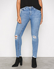 New Look Blue Ripped Fray Skinny Jeans