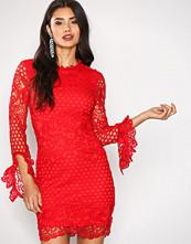 Missguided Red High Neck Crochet Dress