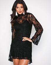 Missguided Black Sheer Lace Frill Hem Dres