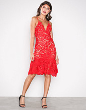Love Triangle Red Atomic Frill Hem Dress