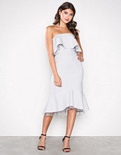 True Decadence Light Grey Off Shoulder Frill Dress