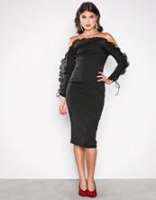 Missguided Black Frill Bardot Midi Dress