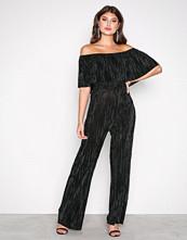 New Look Black Plisse Bardot Jumpsuit