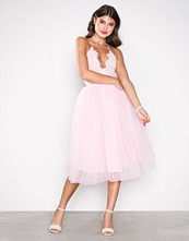 Rare London Light Pink Lace Panel Midi Dress
