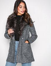 New Look Black Faux Fur Collar Coat