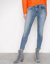 Selected Femme Blå Sfida Mw Cropped Jeans Blue Water N