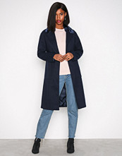 New Look Navy Faux Fur Collar Coat